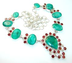 $168.95 Natural Beauty Emerald Sterling Silver necklace at www.SilverRushStyle.com #necklace #handmade #jewelry #silver #emerald