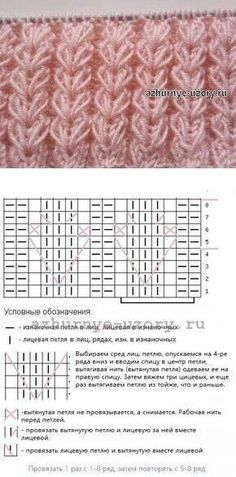 "Knitting Patterns Techniques Lace knitting pattern ""koloski"" (ears of wheat) ~~ Knit row below; slip stitches with yarn i. Lace Knitting Patterns, Knitting Stiches, Knitting Charts, Knitting Yarn, Crochet Stitches, Baby Knitting, Stitch Patterns, Knitting Needles, Khadra"