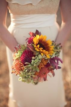 Sunflowers give this wildflower bouquet a pop of vibrance!
