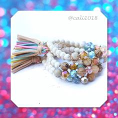 Beaded Ivory Stretch Bracelet Faux Suede Tassel Beaded Ivory Stretch Bracelet  Description:  Ivory stretch turquoise stone style bracelet featuring multi color faux suede tassel. One size fits all.   Made in USA  Package includes ONE bracelet   Buy more and save on price just message me for info Twilight Gypsy Collective Jewelry Bracelets