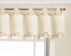 Amazon.com: Today's Curtain Capri Reverse Embroidery 14-Inch Tab Top Curtain Valance, Ecru/Peach: Kitchen & Dining