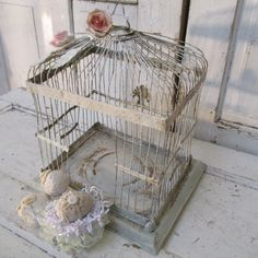 French Nordic blue birdcage rusty distressed metal bird cage display embellished pink cottage roses home decor Anita Spero Design by anitasperodesign. Explore more products on http://anitasperodesign.etsy.com