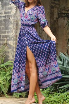 V-Neck Draped Sleeve Single-Breasted Drawstring Design Dress Blue: Bohemian Dresses | ZAFUL