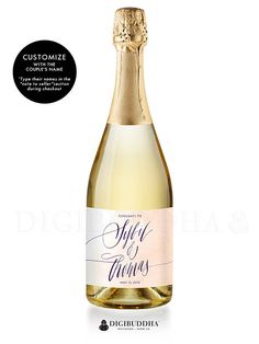 """Sybil"" Peach Watercolor Engagement Champagne Labels 