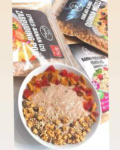 Epres-banános fehérjés zabkása Oatmeal, Breakfast, Free, The Oatmeal, Morning Coffee, Rolled Oats, Overnight Oatmeal