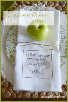 Stone Gable Blog ~ Conversation Starter Napkins: A fun way to start the conversation around your table! Easy to make!