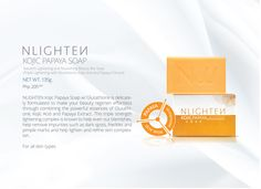 NLIGHTEN Kojic Papaya with Glutathione is a triple strength lightening complex known to help even out blemishes, help remove impurities such as dark spots, freckles, and pimple marks, and help lighten and refine skin complexion. Pimple Marks, Pimples, Papaya Soap, Kojic Acid, Beauty Regimen, Beauty Bar, Bar Soap, Freckles