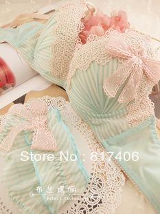 Free Shipping Women's lace bow 3 breasted bra underwear set stripe dot push up US $10.15