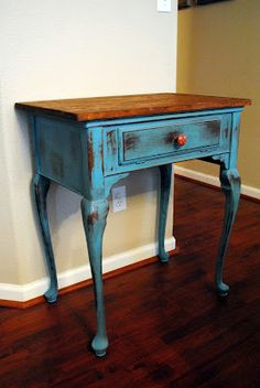 refinished old built in sewing machine table