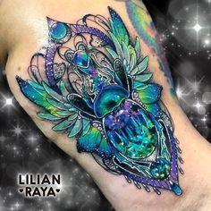 The Egyptian Scarab 💙🦋💚 . In ancient Egyptian religion the scarab was a symbol of he sun, immortality, resurrection, transformation and… Dope Tattoos, Girly Tattoos, Badass Tattoos, Body Art Tattoos, Flower Tattoos, Tatoos, Gem Tattoo, Jewel Tattoo, Hamsa Tattoo