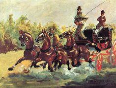 """""""4두 마차를 모는 알퐁스 드 툴루즈-로트렉 백작"""" (1881)     로트렉의 비교적 초기의 작품이다. 그는 춤과 술과 유희가 있는 물랑루즈를 중심으로 활동하기 이전에 주변의 모습들을 그림으로 많이 남겼다. 비록 초기 작품이지만 로트렉 고유의 율동성은 여기에서도 드러난다."""