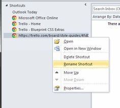 Adding a shortcut to the Outlook shortcuts list.