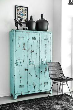 HK living online webwinkel, gratis verzenden & retour boven de €20,- Locker kast hout turquoise HK-living by Villa Jipp