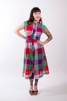 1950s Vintage Dress Bold Fuchsia Green Red Plaid by stutterinmama, $96.00
