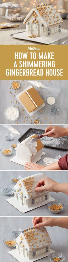 How to Make a Shimmering Gingerbread House - Decorate your gingerbread house with a variety of gold and silver sprinkles and sanding sugar for a truly shimmering one-of-a-kind gingerbread house for the holidays!