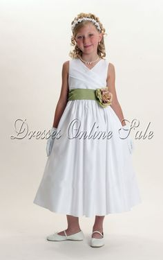 Wholesale Princess Ankle-length V-neck White Satin Dress - 88.00