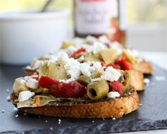 Mediterranean Bruschetta made with STAR Garlic Olive Oil and Cara Mia Artichoke Salad.
