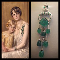 Marjorie Merriweather Post's Cartier emerald and diamond pendant brooch, circa 1923, next to a painting of Post wearing the brooch. Painting by Giulio de Blaas, 1929.