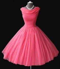 Watermelon Prom Dress,50s Prom Dress,Vintage Prom Dress,Ball Gown Prom Dress,MA079