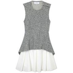 10 Crosby Derek Lam Flared Skirt Dress ($495) ❤ liked on Polyvore featuring dresses, grey, pleated circle skirt, open back dress, skater skirt, panel dress and grey dress