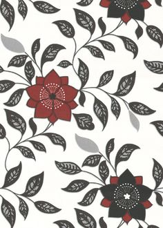 Wallpaper -- black and red blossoms (5qm)
