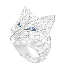 Bague pavée de diamants et saphirs, sur or blanc