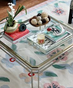 Deck out your coffee table with silver and gold accents.