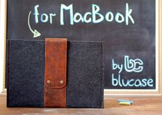 "13"" MACBOOK Air Case. Macbook Felt case. MacBook case with leather flap and button closure. Dark felt MacBook 13""  sleeve. Felt MacBook case"