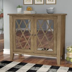 Lark Manor Saint-Gratien Accent Cabinet Color: W Hooker Furniture, Living Room Furniture, Small Cabinet, Glass Front Door, Wood Cabinets, Bathroom Cabinets, Wooden Tops, Trendy Home, Wood Accents