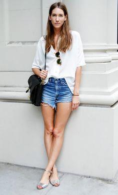 White button-down shirt, denim cut-offs and metallic ankle-strap flats