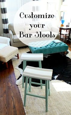 Customize your bar stools with paint and design to enhance your decor.