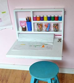 Convenient Space Saver!!! Do you have a constant issue of no where to color, paint and do simple crafts? This desk, when closed, takes up NO floor space, and acts as a chalkboard for playing school or leaving notes. But when opened, the desk not only creates a perfect for kids coloring height desktop, it opens up a dedicated area for storing art supplies. Comes with mounting brackets. (Supplies and stool not included) Easy to Use! A simple hook and eye closure to keep the desk shut. To us...