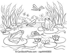 Clipart Vector of wetland landscape with animals coloring vector for adults -. - Search Clip Art, Illustration, Drawings and Vector EPS Graphics Images Insect Coloring Pages, Pattern Coloring Pages, Animal Coloring Pages, Free Printable Coloring Pages, Colouring Pages, Adult Coloring Pages, Coloring Books, Animal Drawings, Cute Drawings