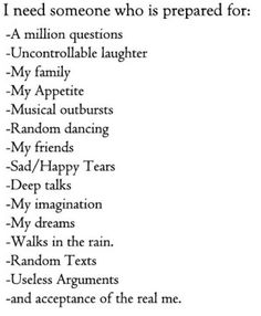 especially the random dancing, imagination, accepting me, and random texts <3