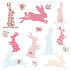 Bunny Rabbit Silhouette Shapes in Cute Pink and Blue Digital Clip Art - Ideal for Scrapbooking, Cardmaking Cupcake Toppers and Paper Crafts