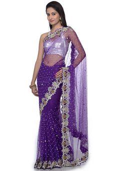 Purple Saree, Net Blouses, Designer Sarees Online, Net Saree, Off White Color, Saree Styles, Party Wear Sarees, Indian Beauty Saree, Saree Wedding