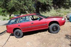 lifted subaru legacy   No rubbing anywhere, drives good. No road noise.