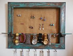 Wood Jewelry Holder Recycled Frame Painted by PippinPost on Etsy