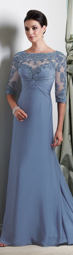 Elbow length Sleeve Mother of the Bride Dress in a soft blue.