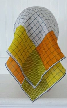 SCARVES BY VERA Hand Rolled Pure Silk Scarf Checkered Orange Yellow Gray in Clothing, Shoes & Accessories | eBay