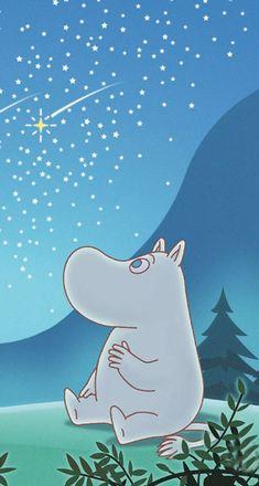 Moomin troll watching stars~~ Cartoon Characters, Moomin Wallpaper, Moomin Valley, Tove Jansson, Animation, Cute Wallpapers, Iphone Wallpapers, Troll, Art Boards