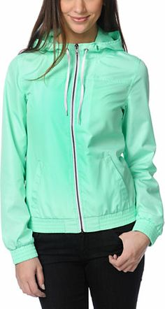 Zine Girls Neon Mint Windbreaker Jacket at Zumiez. Cute with mint rainboots