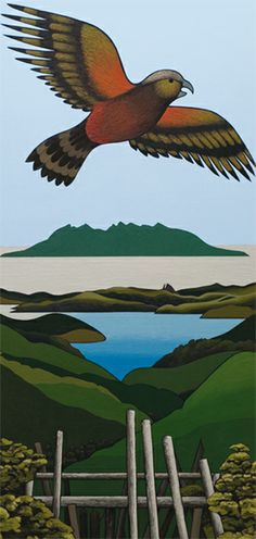 Kaka acrylic on board, by Don Binney, NZ. From the Auckland University Collection. New Zealand Landscape, New Zealand Art, Nz Art, Maori Art, Landscape Artwork, Bird Drawings, Bird Pictures, Contemporary Artwork, Modern Landscaping