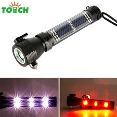 Tactical solar flashlight led rechargeable USB power bank torch light alarm lamp car emergency firefighting hammer compass(China (Mainland))