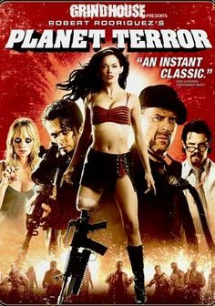 Planet Terror-starring Rose McGowan, Freddy Rodriguez, Bruce Willis, Marley Shelton, Michael Biehn and Jeff Fahey! Film Zombie, Zombie Movies, Halloween Movies, Scary Movies, Quentin Tarantino, Jeff Fahey, Pulp Fiction, Science Fiction, Death Proof