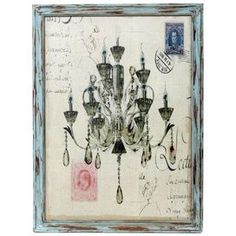 """Chandelier and script wall art in a weathered wood frame.Product: Framed wall art     Construction Material: Wood and fabric Color: Distressed blue frame       Features:Carte postale motifWeathered finish    Dimensions: 25.5"""" H x 19"""" W    Cleaning and Care: Wipe with a dry cloth"""