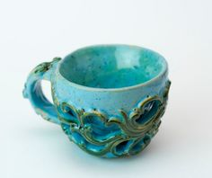 Blue and green ornament handmade cup, coffee tea cup, exclusive ceramic cup, handmade cup, art work by PotterAsh on Etsy