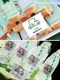 club sandwiches and watering hole for masters golf party- B. Lovely Events #golf #party