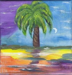 Moonlit Palm with Luminescent Rainbow Ocean Painting Signed 8 x 8 Print