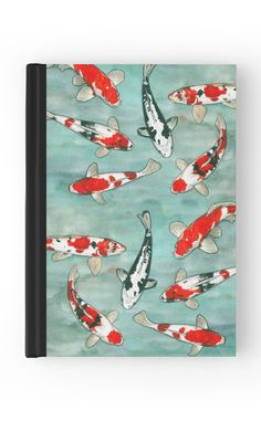 """""""Le ballet des carpes koï"""" Hardcover Journal by Savousepate on Redbubble #hardcoverjournal #notebook #stationery #koifishes #blue #green #red #orange #black #white #watercolorpainting"""